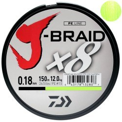 Плетёный шнур Daiwa  J-Braid X8 Chartreuse 150m 0.10mm