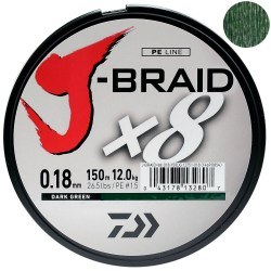 Плетёный шнур Daiwa J-Braid X8 Dark Green 150m 0.13mm